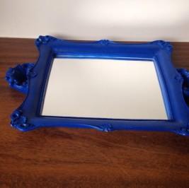 Bandeja espelho azul royal