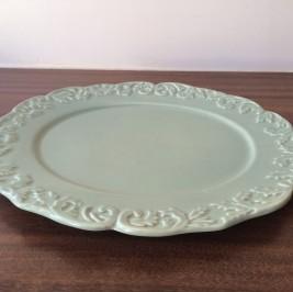 Bandeja oval verde celadon