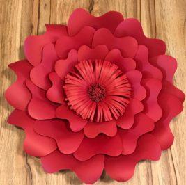 Flor de Papel Vermelho 30cm
