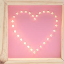 Luminoso Quadrinho Coração Rosa